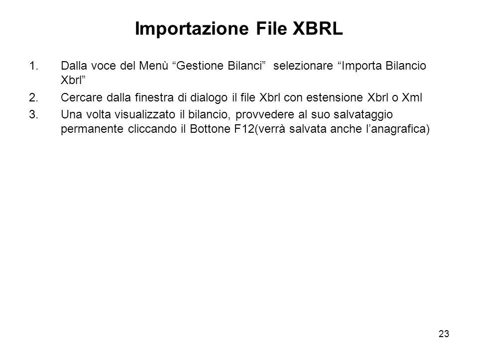 23 Importazione File XBRL 1.Dalla voce del Menù Gestione Bilanci selezionare Importa Bilancio Xbrl 2.Cercare dalla finestra di dialogo il file Xbrl con estensione Xbrl o Xml 3.Una volta visualizzato il bilancio, provvedere al suo salvataggio permanente cliccando il Bottone F12(verrà salvata anche lanagrafica)