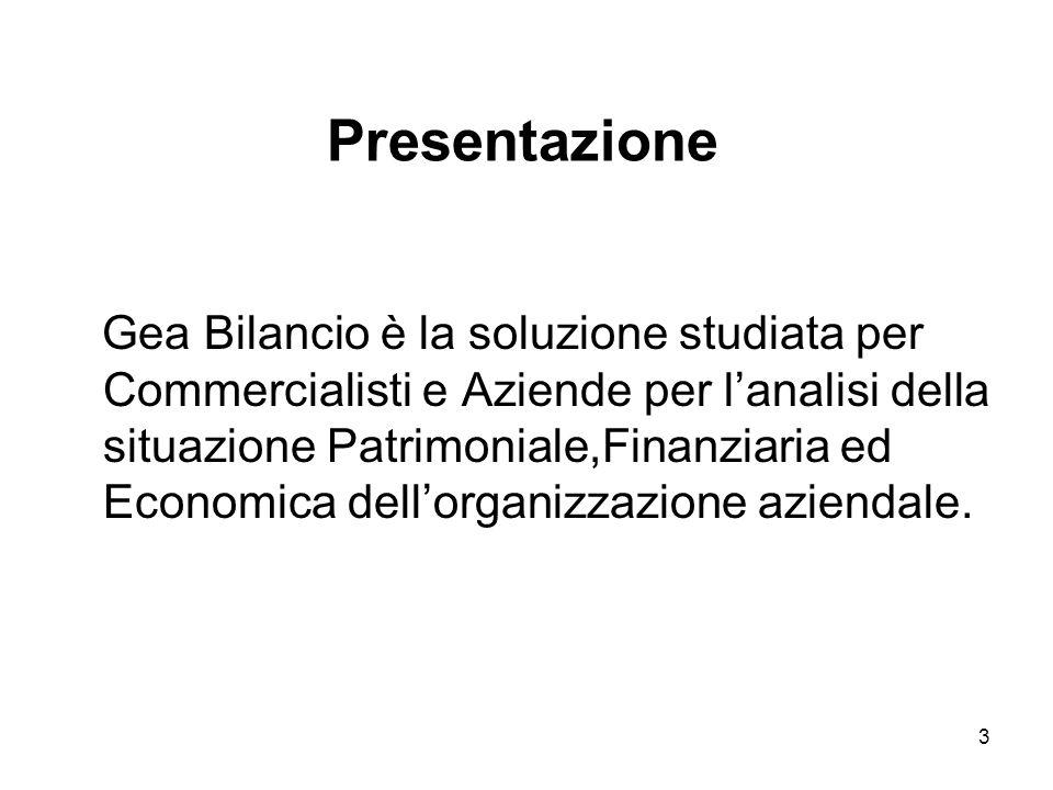 3 Gea Bilancio è la soluzione studiata per Commercialisti e Aziende per lanalisi della situazione Patrimoniale,Finanziaria ed Economica dellorganizzazione aziendale.