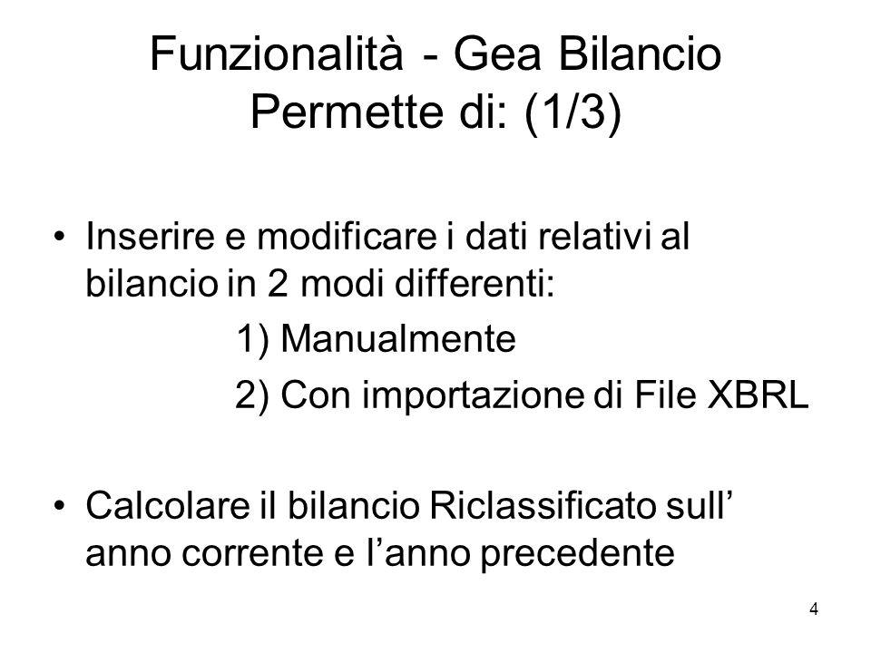 4 Funzionalità - Gea Bilancio Permette di: (1/3) Inserire e modificare i dati relativi al bilancio in 2 modi differenti: 1) Manualmente 2) Con importazione di File XBRL Calcolare il bilancio Riclassificato sull anno corrente e lanno precedente