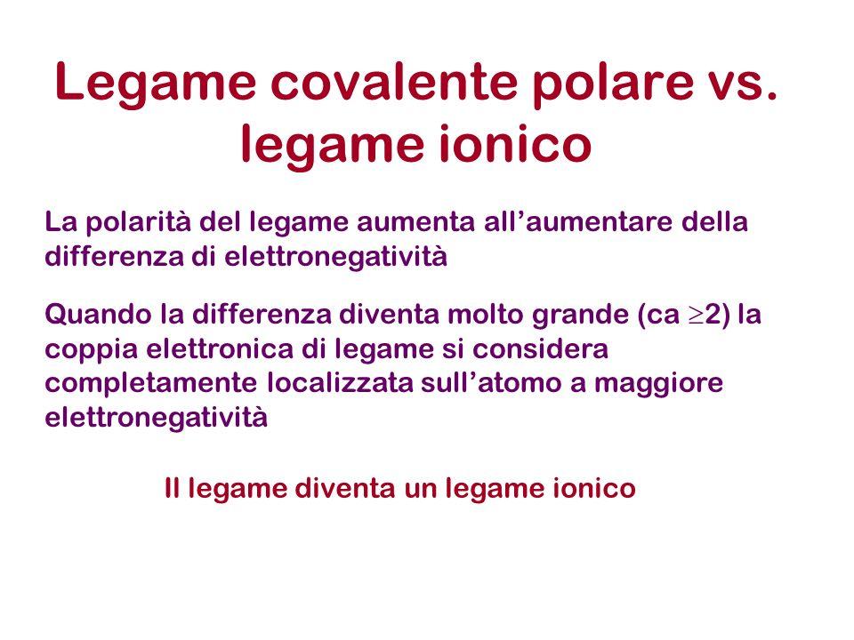 Legame covalente polare vs. legame ionico La polarità del legame aumenta allaumentare della differenza di elettronegatività Quando la differenza diven