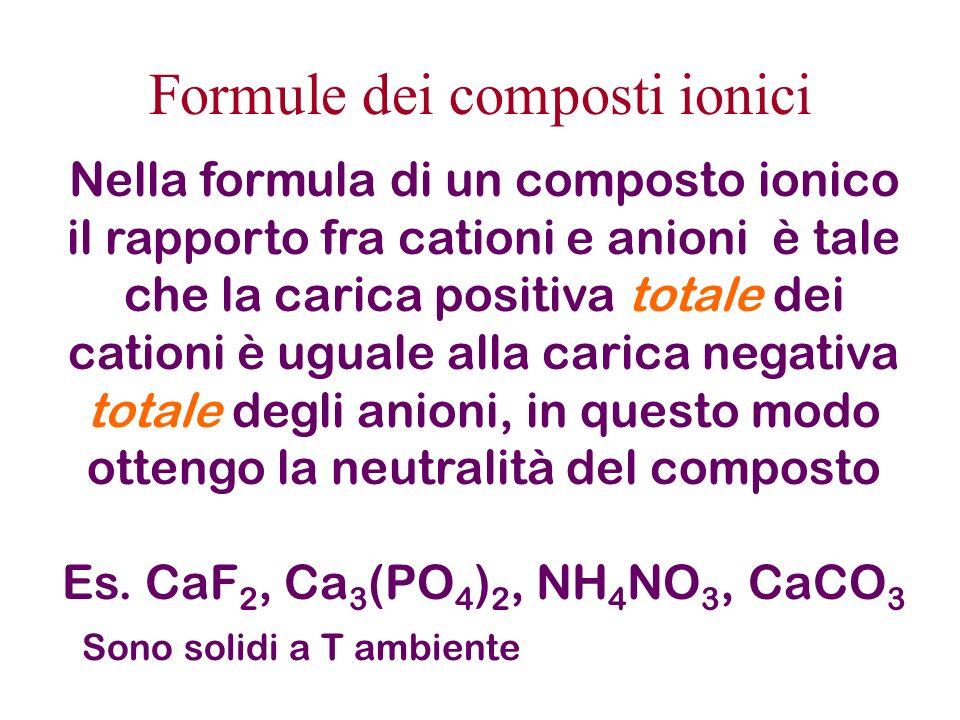Formule dei composti ionici Nella formula di un composto ionico il rapporto fra cationi e anioni è tale che la carica positiva totale dei cationi è ug