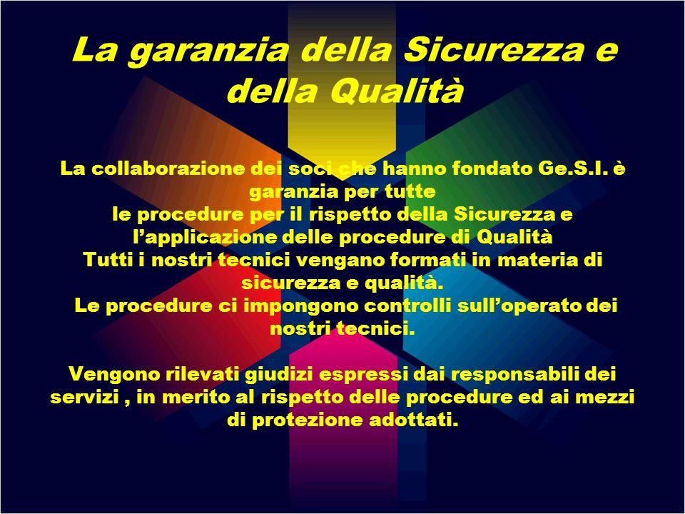 La garanzia della Sicurezza e della Qualità La collaborazione dei soci che hanno fondato Ge.S.I. è garanzia per tutte le procedure per il rispetto del