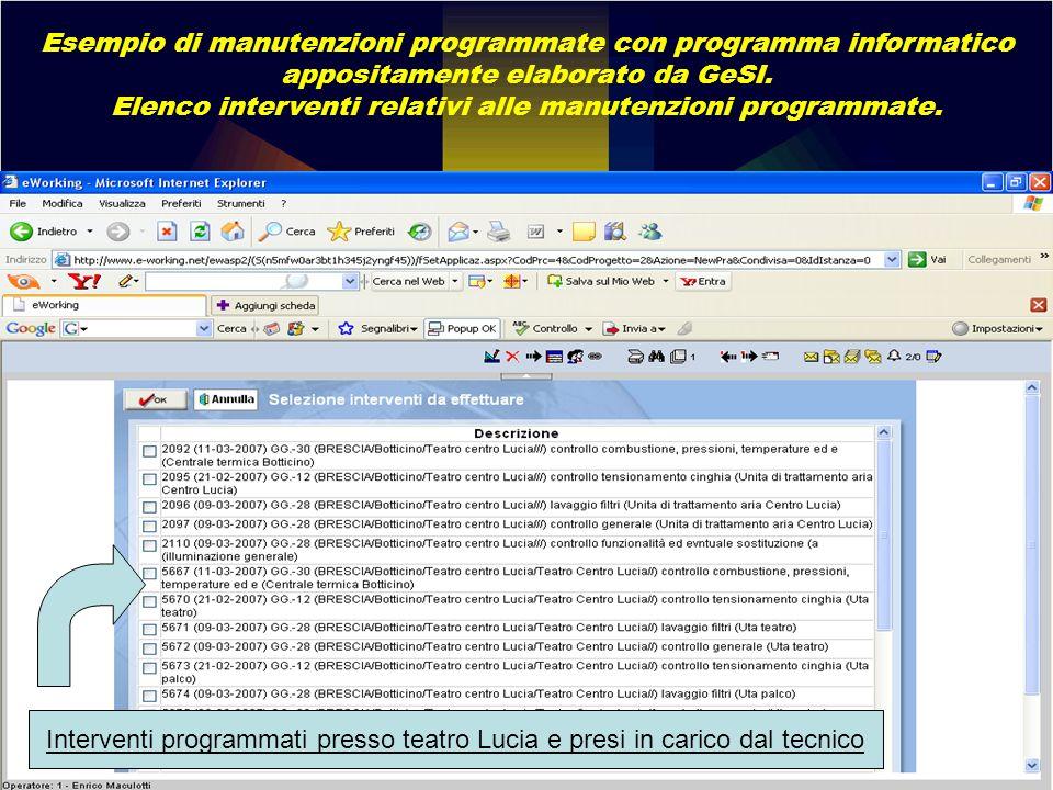 Esempio di manutenzioni programmate con programma informatico appositamente elaborato da GeSI. Elenco interventi relativi alle manutenzioni programmat