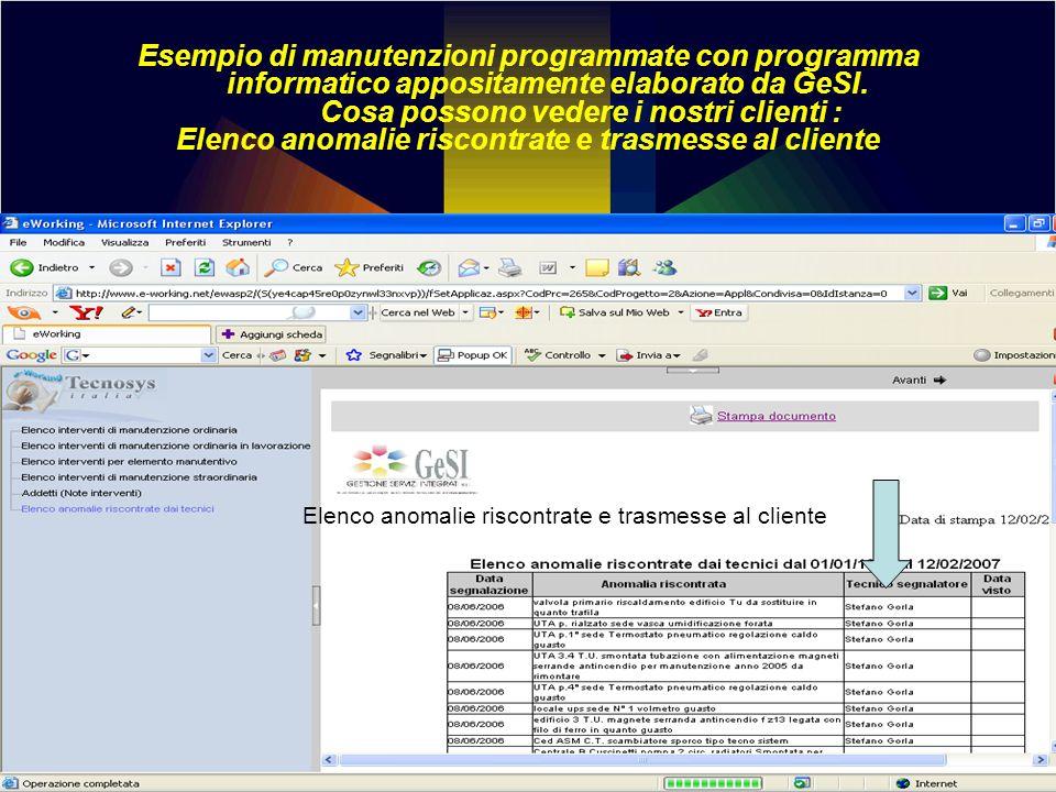 Esempio di manutenzioni programmate con programma informatico appositamente elaborato da GeSI. Cosa possono vedere i nostri clienti : Elenco anomalie