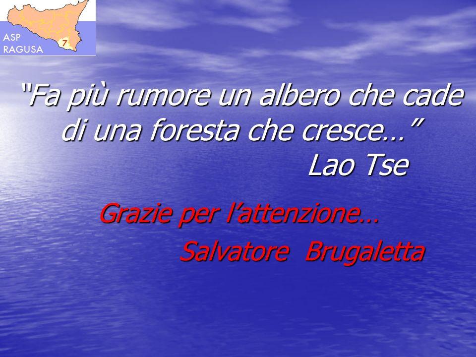 Fa più rumore un albero che cade di una foresta che cresce… Lao Tse Grazie per lattenzione… Salvatore Brugaletta Salvatore Brugaletta