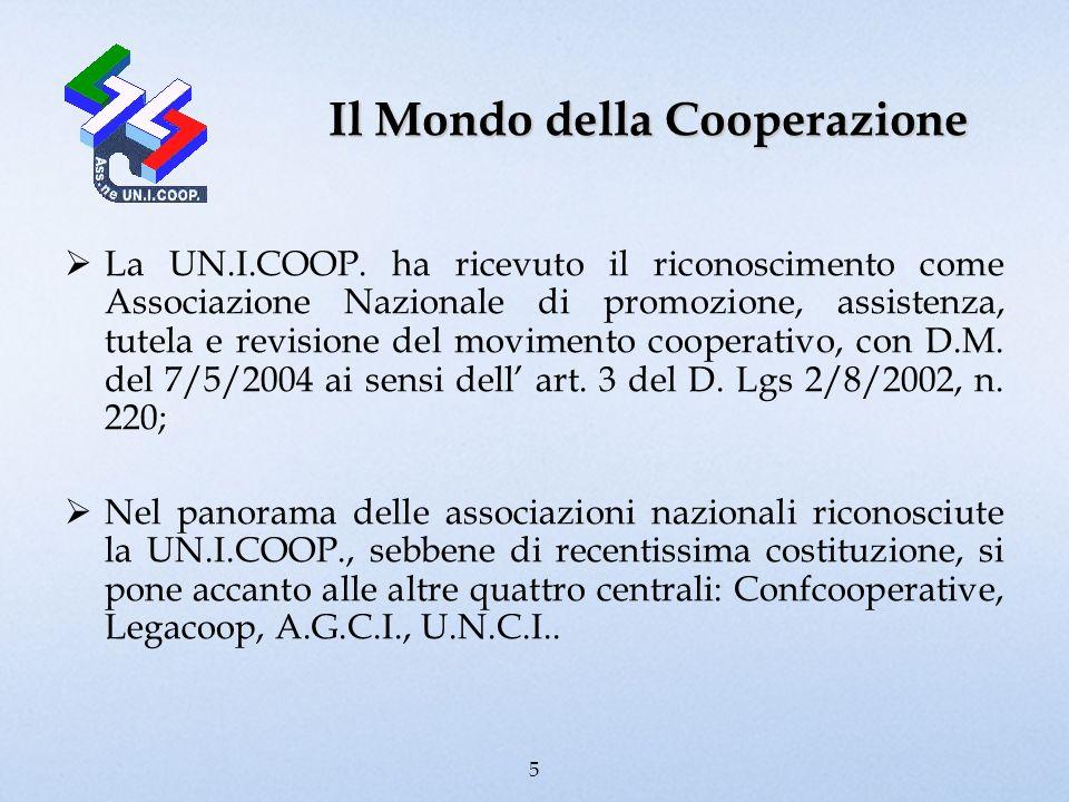 Il Mondo della Cooperazione La UN.I.COOP. ha ricevuto il riconoscimento come Associazione Nazionale di promozione, assistenza, tutela e revisione del