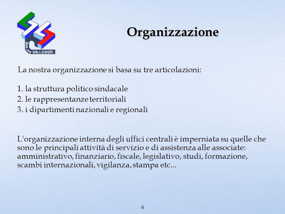 Organizzazione La nostra organizzazione si basa su tre articolazioni: 1. la struttura politico sindacale 2. le rappresentanze territoriali 3. i dipart