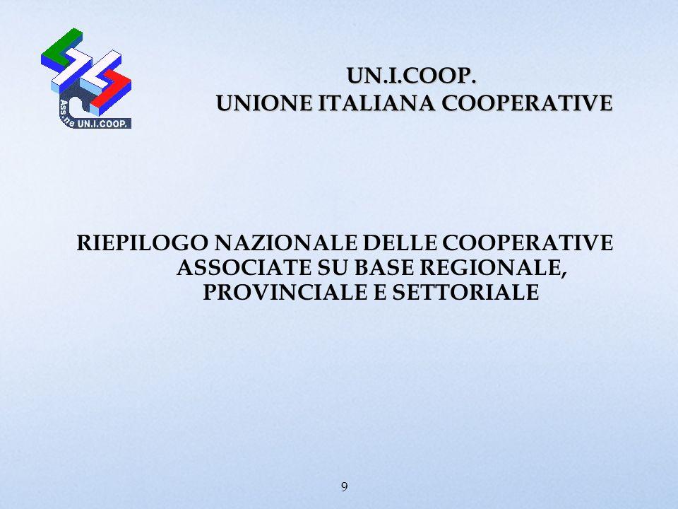 UN.I.COOP. UNIONE ITALIANA COOPERATIVE RIEPILOGO NAZIONALE DELLE COOPERATIVE ASSOCIATE SU BASE REGIONALE, PROVINCIALE E SETTORIALE 9