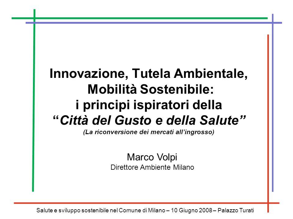 Salute e sviluppo sostenibile nel Comune di Milano – 10 Giugno 2008 – Palazzo Turati La Città del Gusto e della Salute