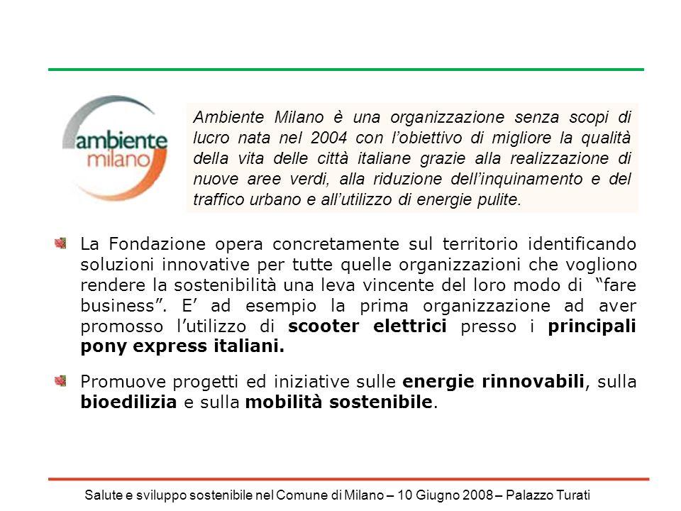 Salute e sviluppo sostenibile nel Comune di Milano – 10 Giugno 2008 – Palazzo Turati La Fondazione opera concretamente sul territorio identificando soluzioni innovative per tutte quelle organizzazioni che vogliono rendere la sostenibilità una leva vincente del loro modo di fare business.