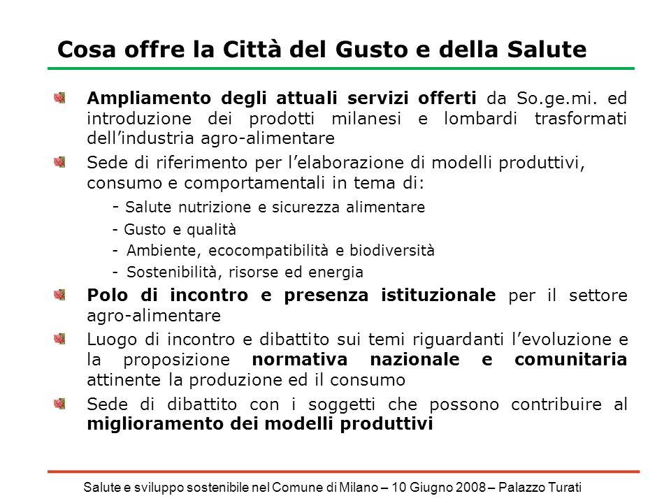 Salute e sviluppo sostenibile nel Comune di Milano – 10 Giugno 2008 – Palazzo Turati Cosa offre la Città del Gusto e della Salute Ampliamento degli attuali servizi offerti da So.ge.mi.