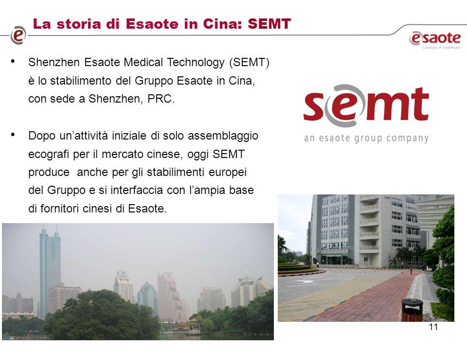 11 Shenzhen Esaote Medical Technology (SEMT) è lo stabilimento del Gruppo Esaote in Cina, con sede a Shenzhen, PRC.
