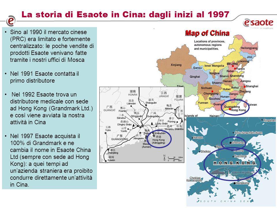 8 La storia di Esaote in Cina: dagli inizi al 1997 Sino al 1990 il mercato cinese (PRC) era limitato e fortemente centralizzato: le poche vendite di prodotti Esaote venivano fatte tramite i nostri uffici di Mosca Nel 1991 Esaote contatta il primo distributore Nel 1992 Esaote trova un distributore medicale con sede ad Hong Kong (Grandmark Ltd.) e così viene avviata la nostra attività in Cina Nel 1997 Esaote acquista il 100% di Grandmark e ne cambia il nome in Esaote China Ltd (sempre con sede ad Hong Kong): a quei tempi ad unazienda straniera era proibito condurre direttamente unattività in Cina.