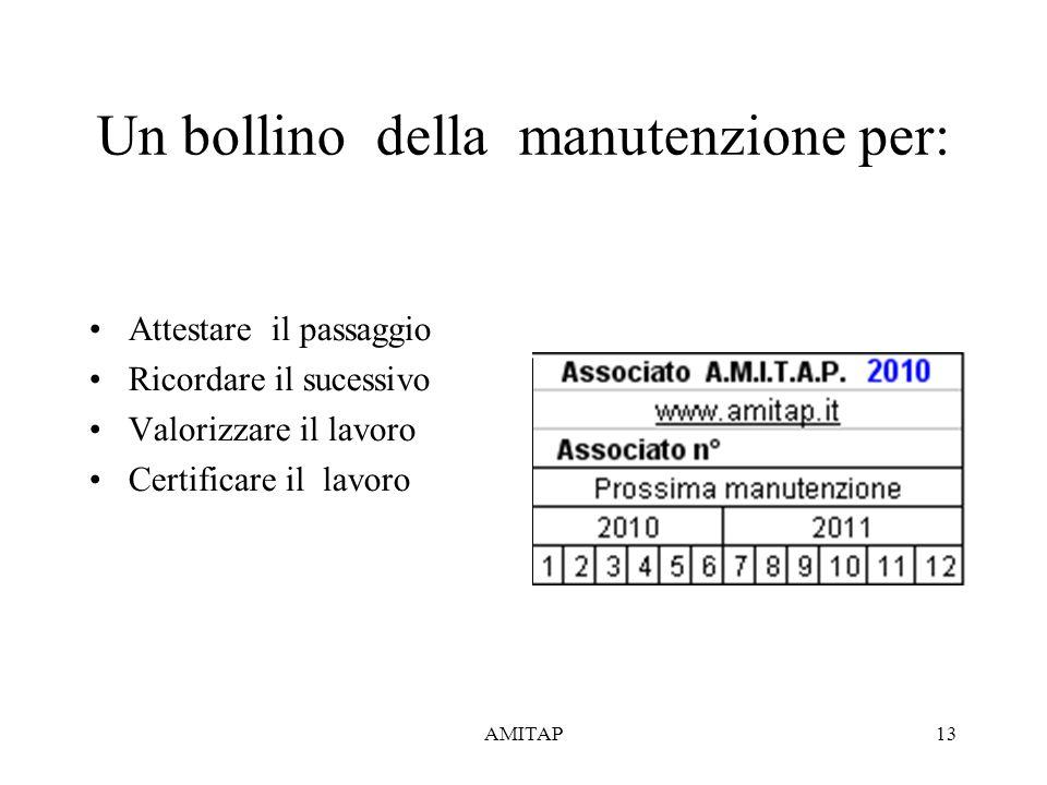 AMITAP13 Un bollino della manutenzione per: Attestare il passaggio Ricordare il sucessivo Valorizzare il lavoro Certificare il lavoro