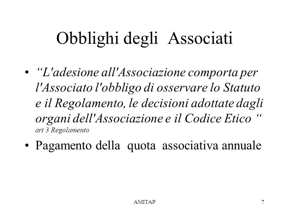 AMITAP7 Obblighi degli Associati L adesione all Associazione comporta per l Associato l obbligo di osservare lo Statuto e il Regolamento, le decisioni adottate dagli organi dell Associazione e il Codice Etico art 3 Regolamento Pagamento della quota associativa annuale