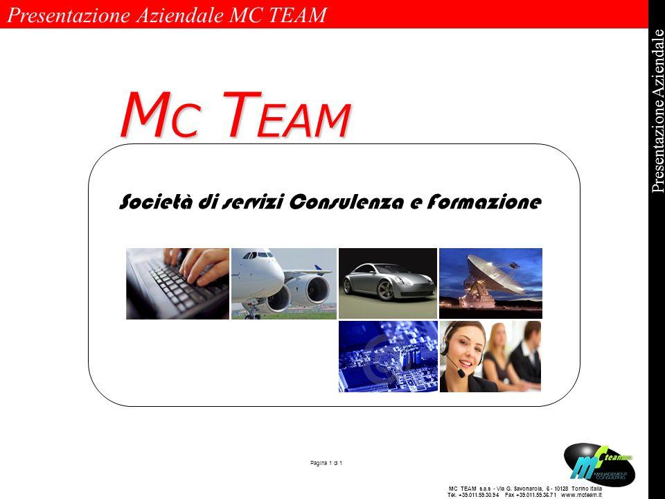 Presentazione Aziendale MC TEAM Pagina 1 di 1 Presentazione Aziendale MC TEAM s.a.s - Via G. Savonarola, 6 - 10128 Torino Italia Tel. +39.011.59.30.94