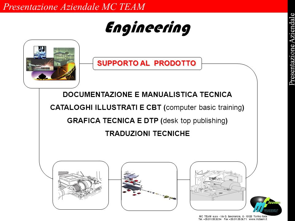 Presentazione Aziendale MC TEAM Pagina 12 di 12 Presentazione Aziendale MC TEAM s.a.s - Via G. Savonarola, 6 - 10128 Torino Italia Tel. +39.011.59.30.