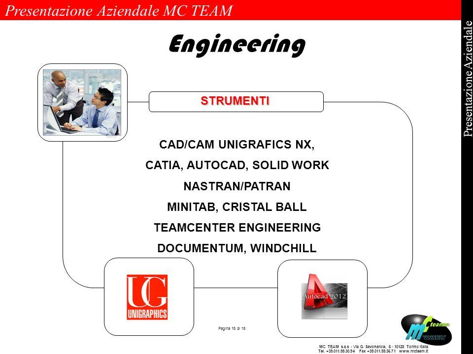 Presentazione Aziendale MC TEAM Pagina 16 di 16 Presentazione Aziendale MC TEAM s.a.s - Via G. Savonarola, 6 - 10128 Torino Italia Tel. +39.011.59.30.