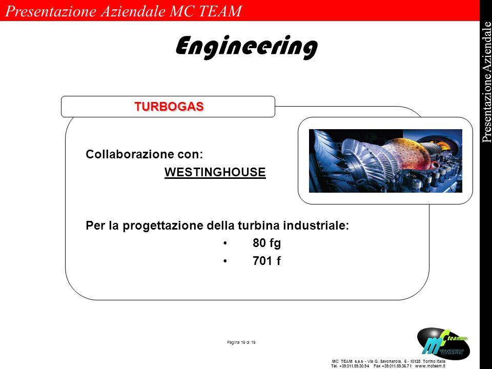 Presentazione Aziendale MC TEAM Pagina 19 di 19 Presentazione Aziendale MC TEAM s.a.s - Via G. Savonarola, 6 - 10128 Torino Italia Tel. +39.011.59.30.