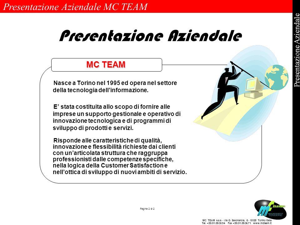Presentazione Aziendale MC TEAM Pagina 2 di 2 Presentazione Aziendale MC TEAM s.a.s - Via G. Savonarola, 6 - 10128 Torino Italia Tel. +39.011.59.30.94