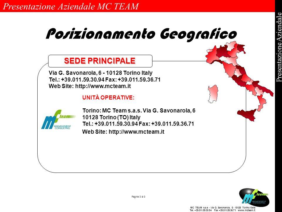 Presentazione Aziendale MC TEAM Pagina 3 di 3 Presentazione Aziendale MC TEAM s.a.s - Via G. Savonarola, 6 - 10128 Torino Italia Tel. +39.011.59.30.94