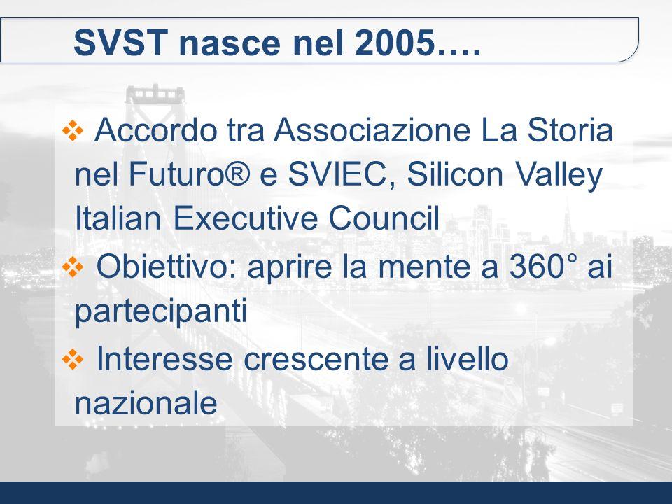 SVST nasce nel 2005…. Accordo tra Associazione La Storia nel Futuro® e SVIEC, Silicon Valley Italian Executive Council Obiettivo: aprire la mente a 36