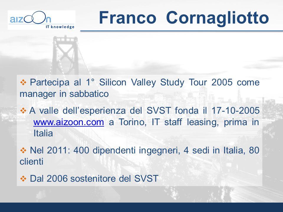 Franco Cornagliotto Partecipa al 1° Silicon Valley Study Tour 2005 come manager in sabbatico A valle dellesperienza del SVST fonda il 17-10-2005 www.a