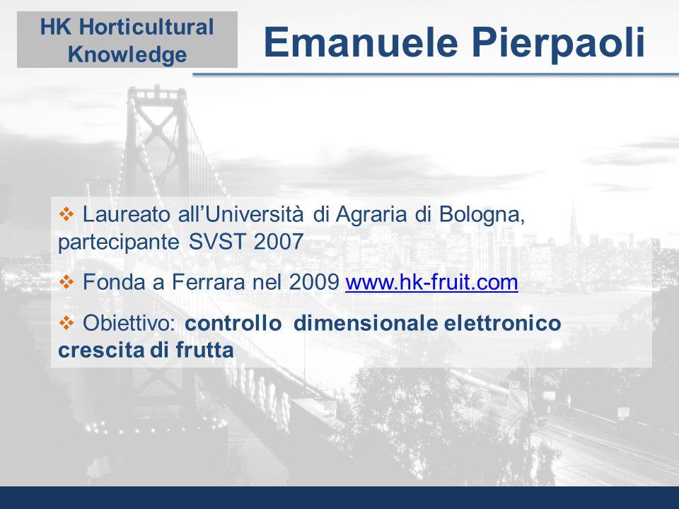 Laureato allUniversità di Agraria di Bologna, partecipante SVST 2007 Fonda a Ferrara nel 2009 www.hk-fruit.comwww.hk-fruit.com Obiettivo: controllo di