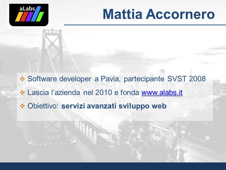 Software developer a Pavia, partecipante SVST 2008 Lascia lazienda nel 2010 e fonda www.alabs.itwww.alabs.it Obiettivo: servizi avanzati sviluppo web