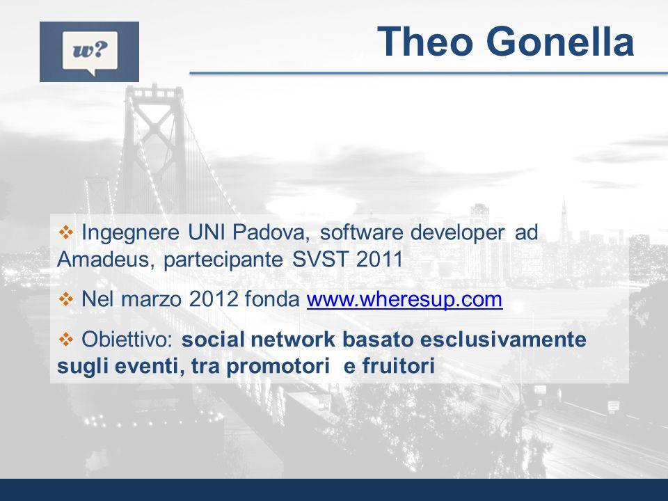 Ingegnere UNI Padova, software developer ad Amadeus, partecipante SVST 2011 Nel marzo 2012 fonda www.wheresup.comwww.wheresup.com Obiettivo: social ne