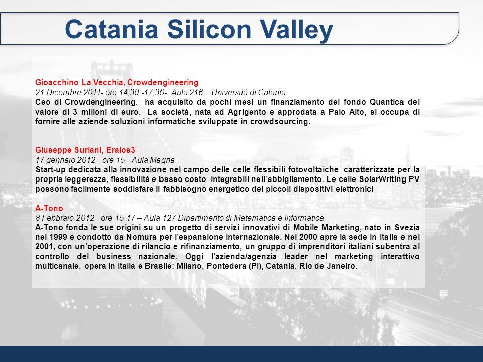 Catania Silicon Valley Gioacchino La Vecchia, Crowdengineering 21 Dicembre 2011- ore 14,30 -17,30- Aula 216 – Università di Catania Ceo di Crowdengine