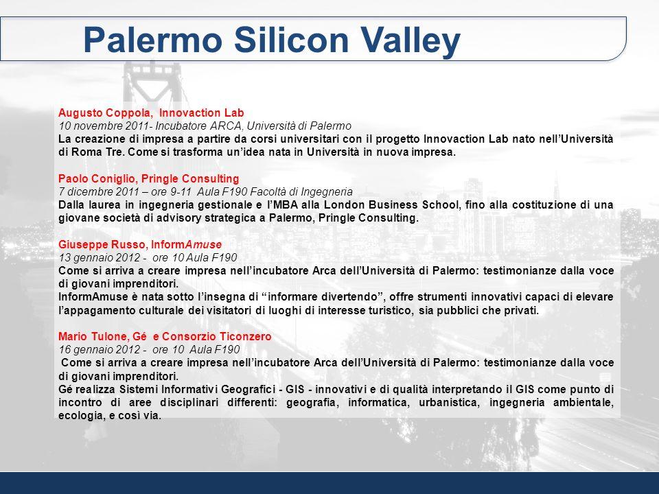 Palermo Silicon Valley Augusto Coppola, Innovaction Lab 10 novembre 2011- Incubatore ARCA, Università di Palermo La creazione di impresa a partire da