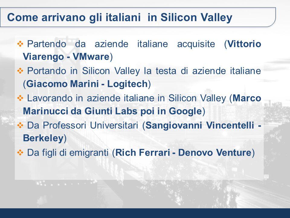 Come arrivano gli italiani in Silicon Valley Partendo da aziende italiane acquisite (Vittorio Viarengo - VMware) Portando in Silicon Valley la testa d