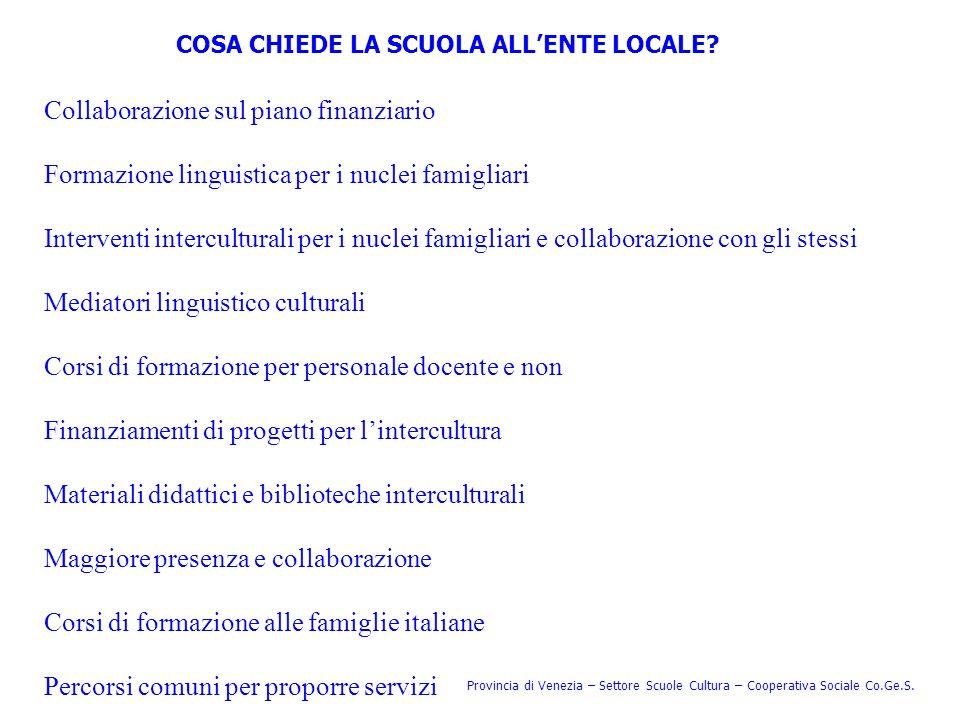 COSA CHIEDE LA SCUOLA ALLENTE LOCALE? Provincia di Venezia – Settore Scuole Cultura – Cooperativa Sociale Co.Ge.S. Collaborazione sul piano finanziari