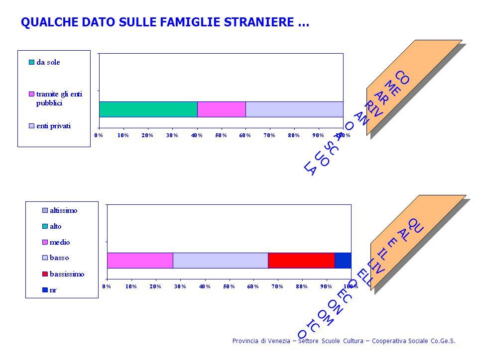 QUALCHE DATO SULLE FAMIGLIE STRANIERE … COMEARRIVANOASCUOLA QUALEILLIVELLOECONOMICO Provincia di Venezia – Settore Scuole Cultura – Cooperativa Social
