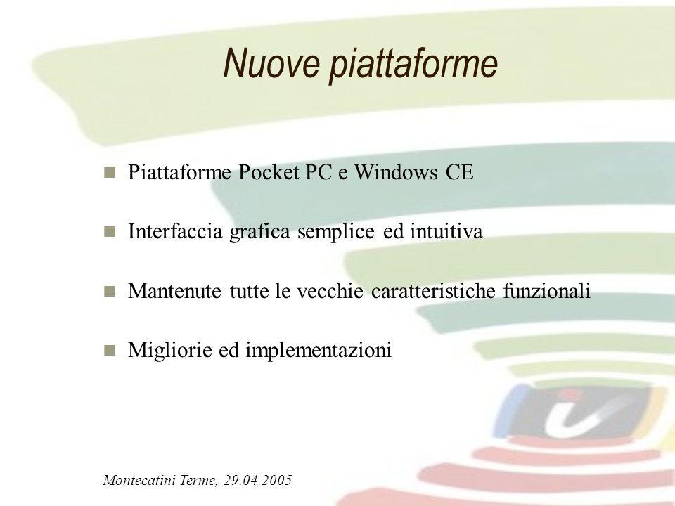 Montecatini Terme, 29.04.2005 Nuove piattaforme Piattaforme Pocket PC e Windows CE Interfaccia grafica semplice ed intuitiva Mantenute tutte le vecchi