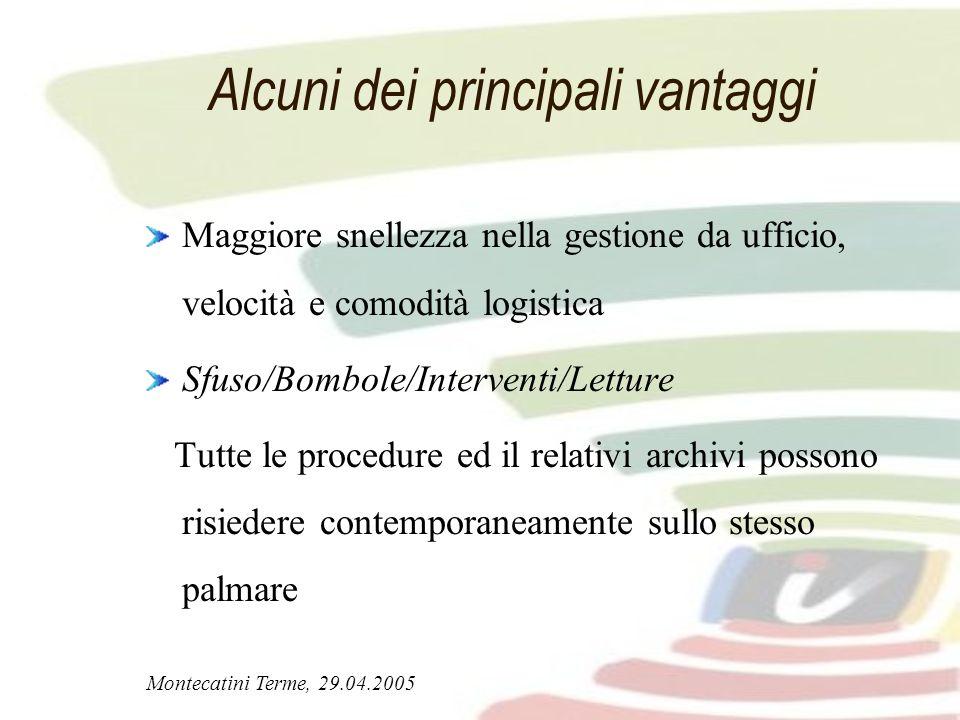 Montecatini Terme, 29.04.2005 Alcuni dei principali vantaggi Maggiore snellezza nella gestione da ufficio, velocità e comodità logistica Sfuso/Bombole