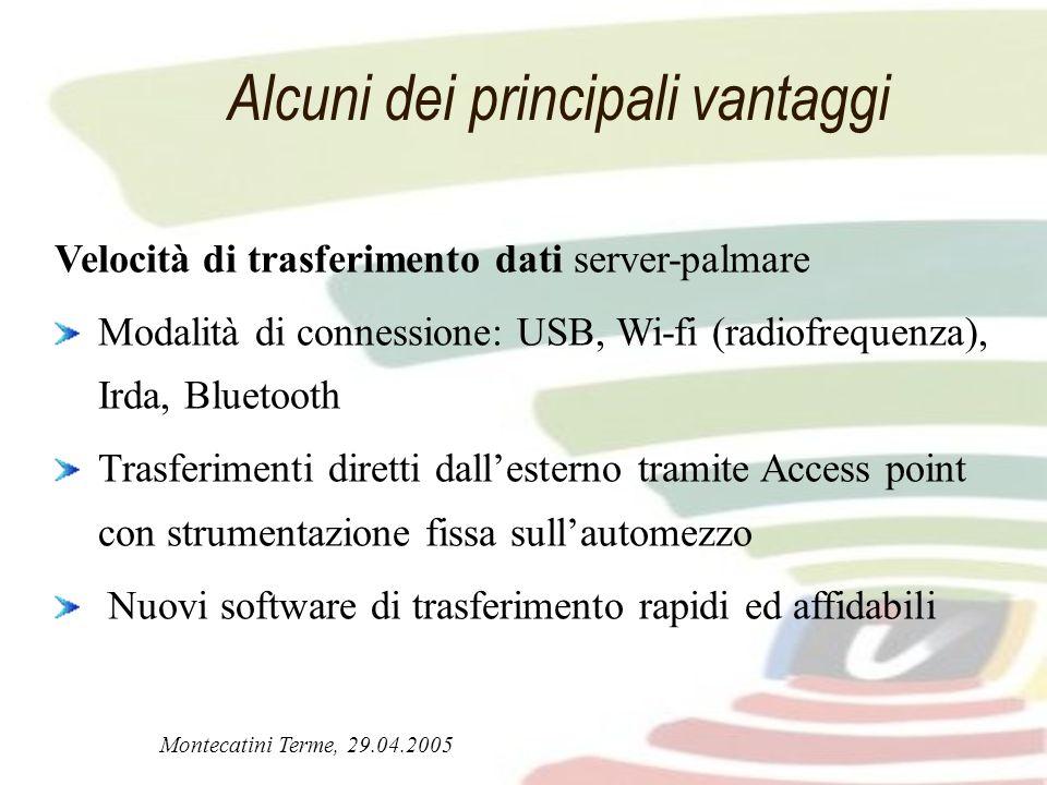 Montecatini Terme, 29.04.2005 Alcuni dei principali vantaggi Velocità di trasferimento dati server-palmare Modalità di connessione: USB, Wi-fi (radiof