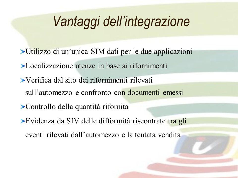 Vantaggi dellintegrazione Utilizzo di ununica SIM dati per le due applicazioni Localizzazione utenze in base ai rifornimenti Verifica dal sito dei rif