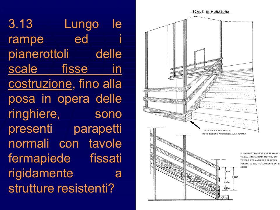 3.13Lungo le rampe ed i pianerottoli delle scale fisse in costruzione, fino alla posa in opera delle ringhiere, sono presenti parapetti normali con ta