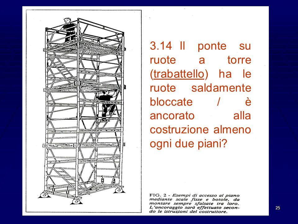 25 3.14Il ponte su ruote a torre (trabattello) ha le ruote saldamente bloccate / è ancorato alla costruzione almeno ogni due piani?