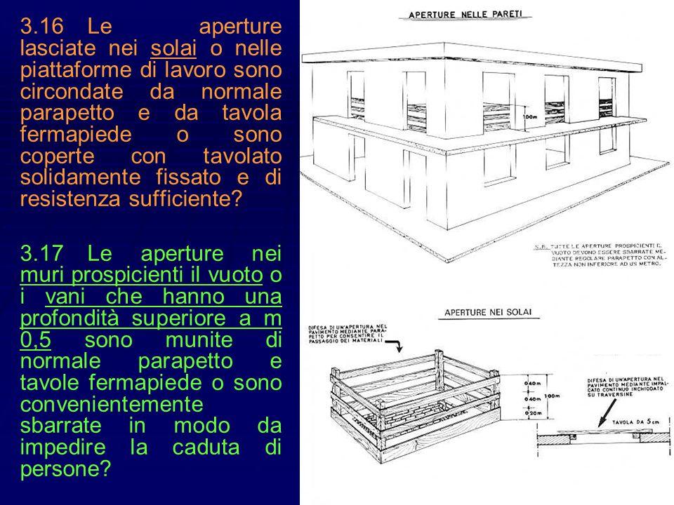 3.16Le aperture lasciate nei solai o nelle piattaforme di lavoro sono circondate da normale parapetto e da tavola fermapiede o sono coperte con tavola