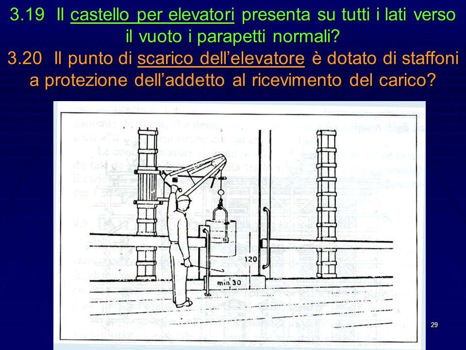 29 3.19Il castello per elevatori presenta su tutti i lati verso il vuoto i parapetti normali? 3.20Il punto di scarico dellelevatore è dotato di staffo
