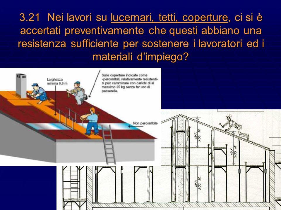 30 3.21Nei lavori su lucernari, tetti, coperture, ci si è accertati preventivamente che questi abbiano una resistenza sufficiente per sostenere i lavo