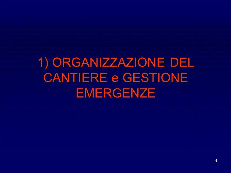 4 1) ORGANIZZAZIONE DEL CANTIERE e GESTIONE EMERGENZE