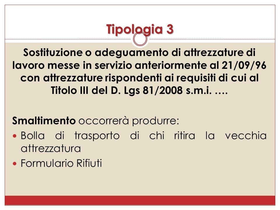 Sostituzione o adeguamento di attrezzature di lavoro messe in servizio anteriormente al 21/09/96 con attrezzature rispondenti ai requisiti di cui al Titolo III del D.
