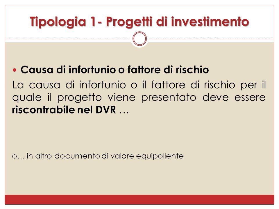 Causa di infortunio o fattore di rischio La causa di infortunio o il fattore di rischio per il quale il progetto viene presentato deve essere riscontrabile nel DVR … o… in altro documento di valore equipollente Tipologia 1- Progetti di investimento