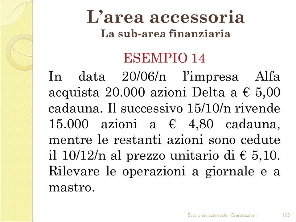 Economia aziendale - Esercitazioni105 Larea accessoria La sub-area finanziaria ESEMPIO 14 In data 20/06/n limpresa Alfa acquista 20.000 azioni Delta a