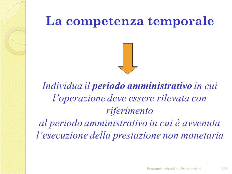 Economia aziendale - Esercitazioni112 La competenza temporale Individua il periodo amministrativo in cui loperazione deve essere rilevata con riferime
