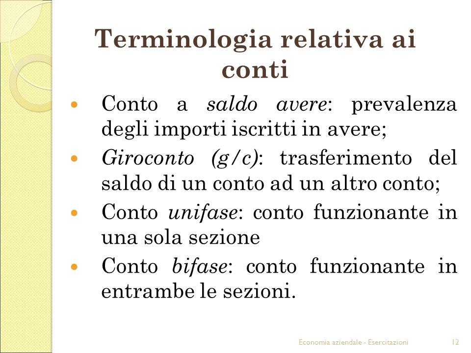 Economia aziendale - Esercitazioni12 Terminologia relativa ai conti Conto a saldo avere : prevalenza degli importi iscritti in avere; Giroconto (g/c)